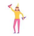 woman celebrate birthday party in festive cap vector image vector image