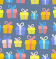 Gifts seamless pattern background of colored boxes vector image