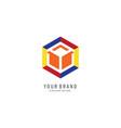hexagon colourfull logo vector image