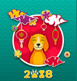 2018 chinese new year card earth dog paper vector image