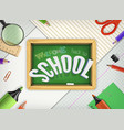 3d welcome back to school title poster vector image