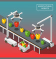 agricultural robots isometric background vector image vector image
