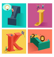 alphabets concept in 3d vector image vector image