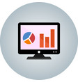 analytics on screen flat icon with gradient vector image vector image