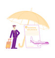 aviation insurance concept pilot with luggage vector image