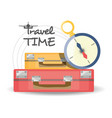 bag with important thing and alarm clock vector image vector image