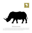 black silhouette of a rhino on a white background vector image