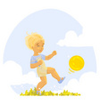 boy playing ball vector image
