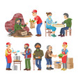 charity volunteer people caring elderly vector image