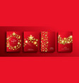 christmas and new year gold 3d stars template vector image