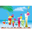 cocktails on the beach on sky background vector image vector image