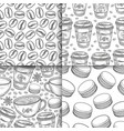 coffee cups beans mugs macaroons hand drawn vector image vector image