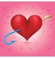 Cupids arrow strikes to the heart vector image