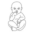 cute baby boy or girl line style on white