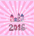 cute new year background doodle sweet houses vector image