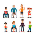 disability people cartoon sick and disabled vector image vector image