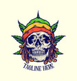 dreadlock rastaman skull jamaican leaf weed vector image