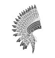 Feathered War bannet in zentangle style high vector image