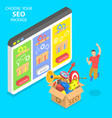 flat isometric concept seo package vector image