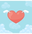 Flying hearts with wings Card for Valentine day vector image vector image