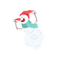 funny smiling snowman character in a hat and scarf vector image vector image