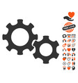 gears icon with dating bonus vector image vector image