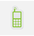 green icon - mobile phone with antenna and signal vector image vector image