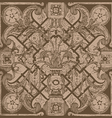 hand drawn floral pattern tile background brown vector image vector image