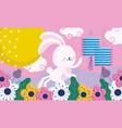 happy mid autumn festival cute rabbit lanterns vector image vector image