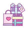 happy valentines day gift boxes and shopping bag vector image