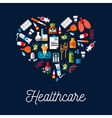 Healthcare equipment icons shaped as heart vector image vector image