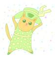 kawaii cat wearing a hat image design vector image
