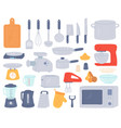 kitchen tools cooking utensil and electric vector image