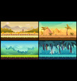 landscape cartoon seamless backgrounds set vector image