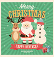 merry christmas card with santa claus snowman vector image