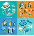 Mobile Shopping Isometric 2x2 Icons Set vector image vector image