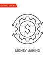 money making icon thin line vector image vector image