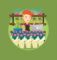 owner of flower shop using phone and laptop vector image vector image