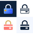 padlock with credit card stock icon set vector image vector image