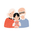 portrait of grandfather grandmother vector image vector image