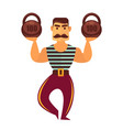 powerlifter with mass isolated on white athletic vector image vector image