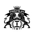 premium sign with lions and crown vector image vector image