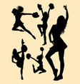 pretty dancer cheerleader silhouette vector image vector image