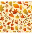 Retro autumn season leaves seamless pattern vector image vector image