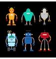 Retro robot set vector image vector image
