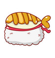 rice sushi fish food japanese menu cartoon vector image