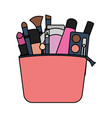 set make up accessories in bag vector image