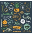 Set of hand drawn bio organic eco product logos vector image vector image
