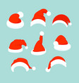 set of santa hats in flat vector image vector image