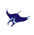 skate blue color icon underwater creature vector image
